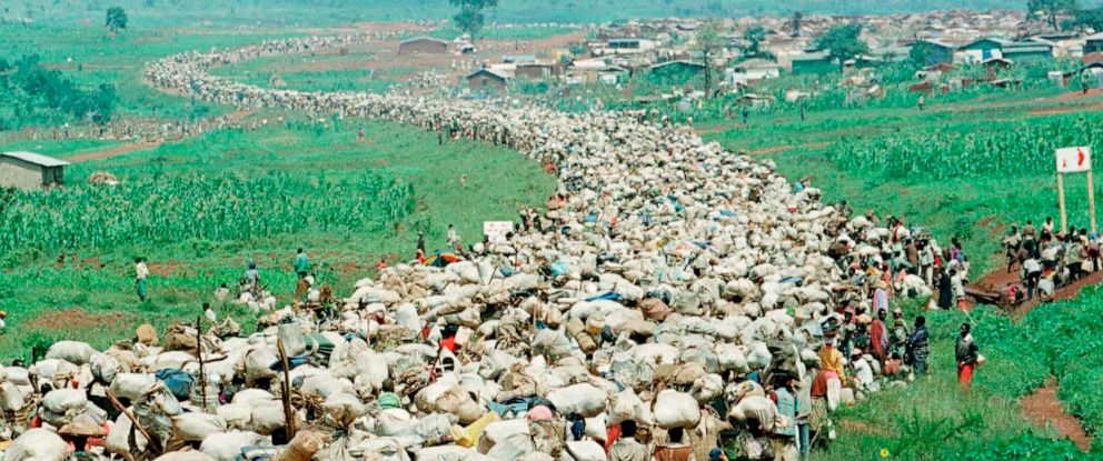 PHOTO: Thousands of Rwandan refugees, who have been forced by the Tanzanian authorities to return to their country despite fears they will be killed upon their return, stream back towards the Rwandan border on a road in Tanzania, Dec. 19, 1996.