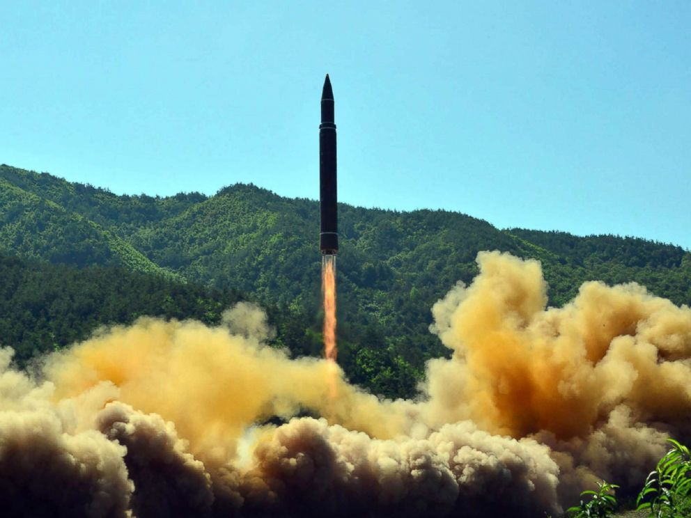 PHOTO: This picture taken on July 4, 2017 and released by North Koreas official Korean Central News Agency (KCNA) on July 5, 2017 shows the successful test-fire of the intercontinental ballistic missile Hwasong-14 at an undisclosed location.