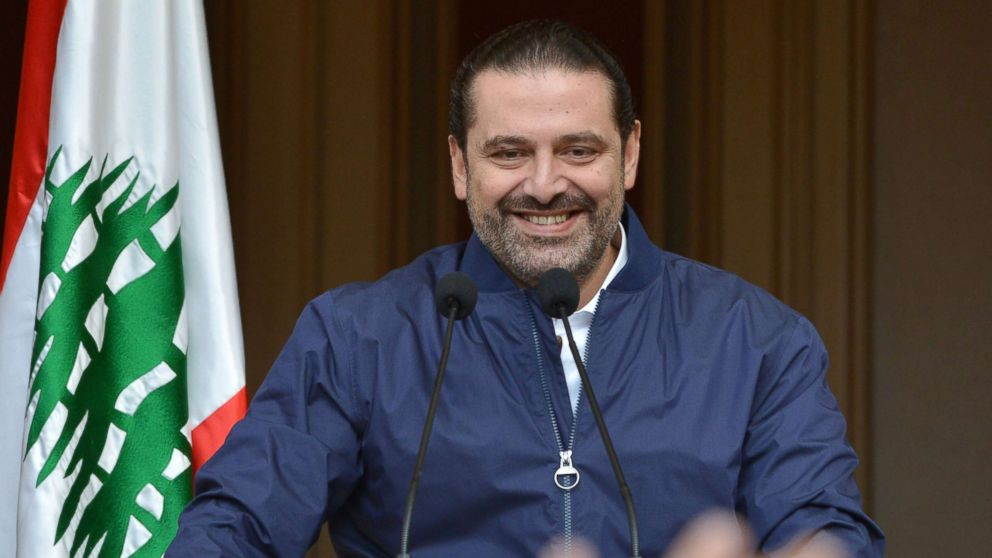 Lebanese Prime Minister Saad Hariri speaks to his supporters at his home in downtown Beirut, Lebanon, Nov. 22, 2017. Hariri, who had recently announced his resignation, said he would temporarily refrain from stepping down from office at the behest of the country's president.
