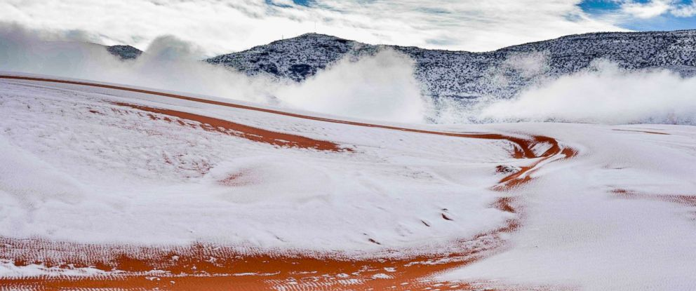 PHOTO: Snow is pictured in the Sahara Desert near the town of Ain Sefra, Algeria, Jan. 7, 2018.