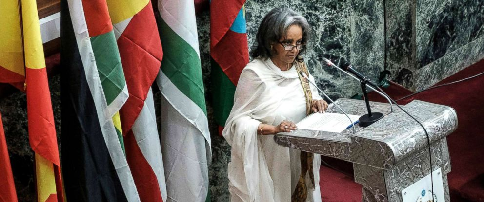 PHOTO: Ethiopias first female President Sahle-Work Zewde delivers a speech at the Parliament in Addis Ababa, Oct. 25, 2018.
