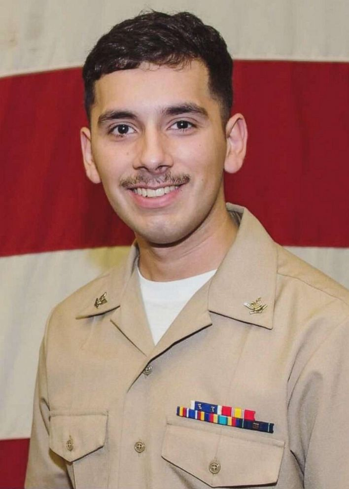 PHOTO: The U.S. Navy announced the identity of a sailor who was reported in a man overboard incident on board the USS Abraham Lincoln as Aviation Electronics Technician 2nd Class Slayton Saldana.