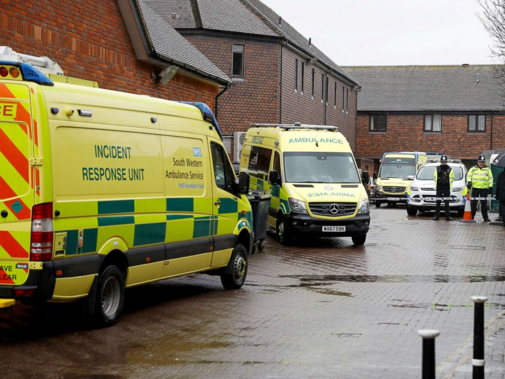 PHOTO: Emergency services vehicles are parked in Salisbury, Britain, March 28, 2018, behind a pub that was visited by former Russian intelligence officer Sergei Skripal and his daughter Yulia before they were found poisoned.