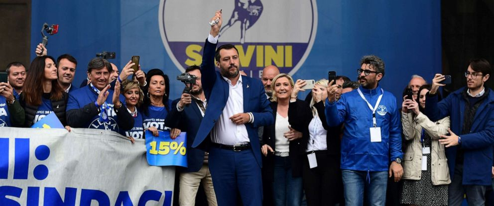 PHOTO: Italian Deputy Prime Minister and Interior Minister Matteo Salvini (C) gestures on stage during a rally of European nationalists ahead of European elections on May 18, 2019, in Milan.