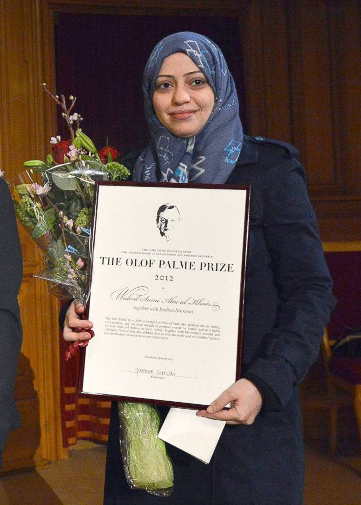 In this file photo, Saudian lawyer and human rights activist Waleed Abu al-Khair's wife, Samar Badawi, receives the Olof Palme prize at the 2nd chamber of the Swedish Parliament in Stockholm, Jan. 25, 2013.