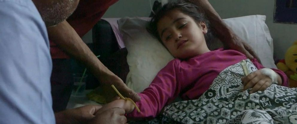 PHOTO: Sara, 8, lost her leg in an artillery shell explosion.