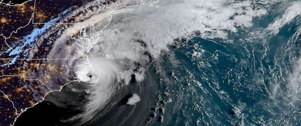 PHOTO: A satellite image shows Hurricane Dorian as it moves along the southeastern U.S. coast early on Sept. 6, 2019.