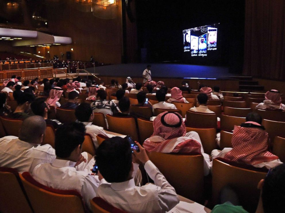 PHOTO: Saudis attend a film festival, Oct. 20, 2017, at the King Fahad Culture Center in Riyadh, Saudi Arabia. A decades-long ban on cinemas is to be lifted next year.