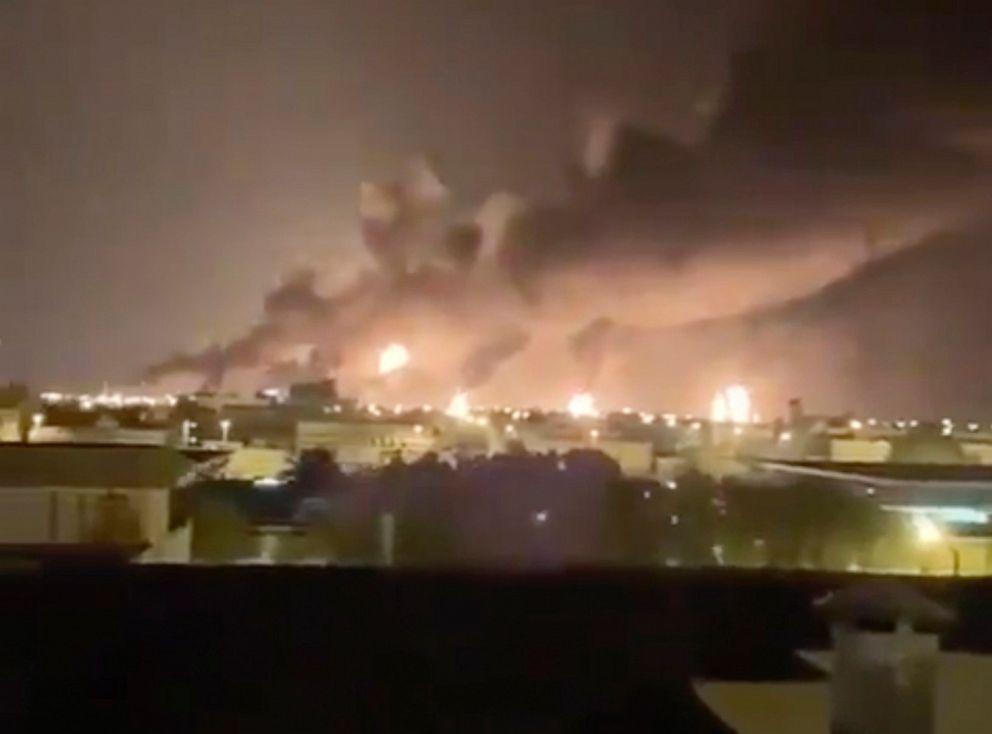 PHOTO: Smoke fills the sky at the Abqaiq oil processing facility on Saturday, Sept. 14, 2019, in Saudi Arabia.