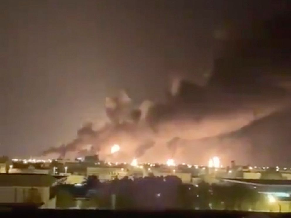 PHOTO: Smoke fills the sky at the Abqaiq oil processing facility on Saturday, Sept. 14, 2019, in Saudi Arabia.