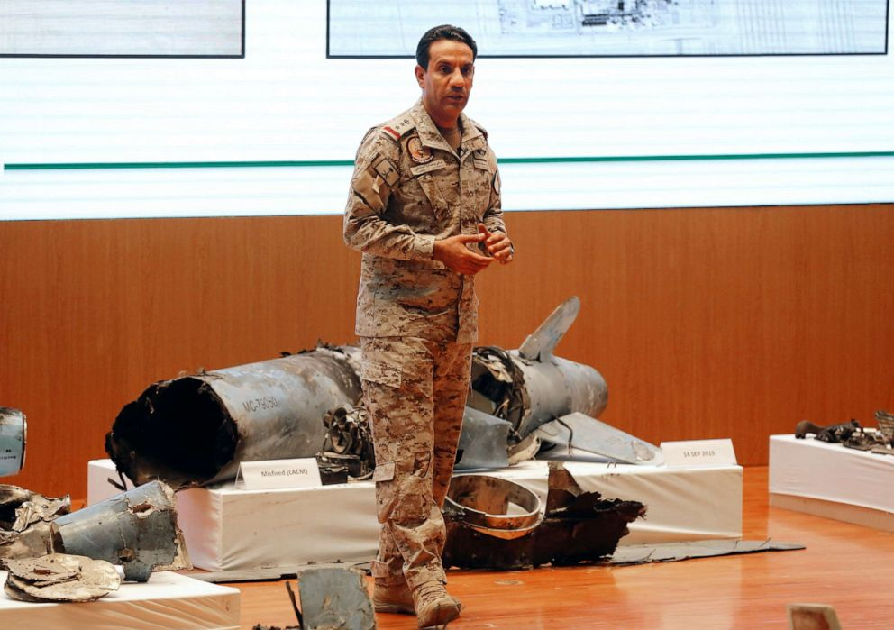 PHOTO: Saudi military spokesman Col. Turki al-Malki displays what he describes as an Iranian cruise missile and drones used in an attack that targeted the heart of Saudi Arabias oil industry, during a press conference in Riyadh, Sept. 18, 2019.