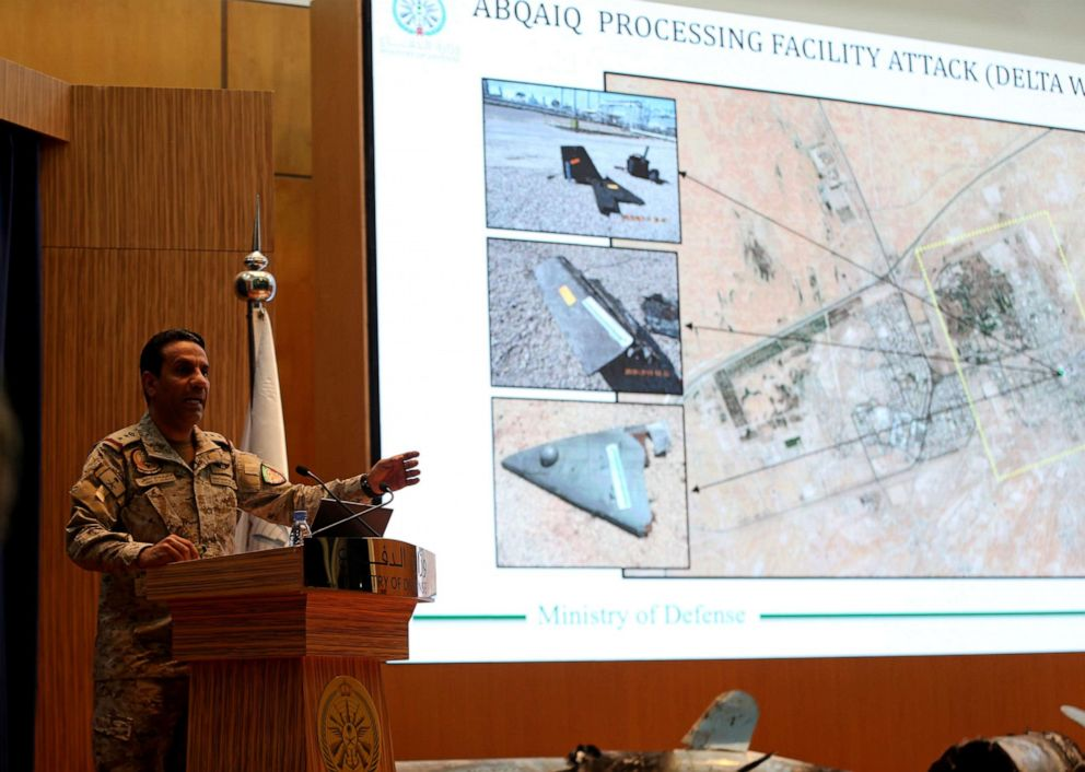 PHOTO: Saudi defence ministry spokesman Colonel Turki Al-Malik displays on a screen drones which Saudi government says attacked an Aramco oil facility, during a news conference in Riyadh, Saudi Arabia, Sept. 18, 2019.