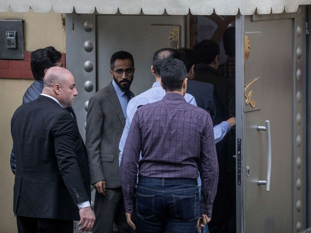 PHOTO: Saudi investigators arrive ahead of Turkish police at the Saudi Arabian consulate on Oct. 15, 2018 in Istanbul.
