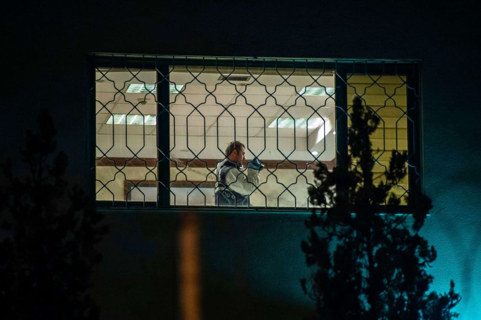 PHOTO: A Turkish forensic police officer works in Saudi Arabias consulate in Istanbul on Oct. 15, 2018 during the investigation over missing Saudi journalist Jamal Khashoggi.