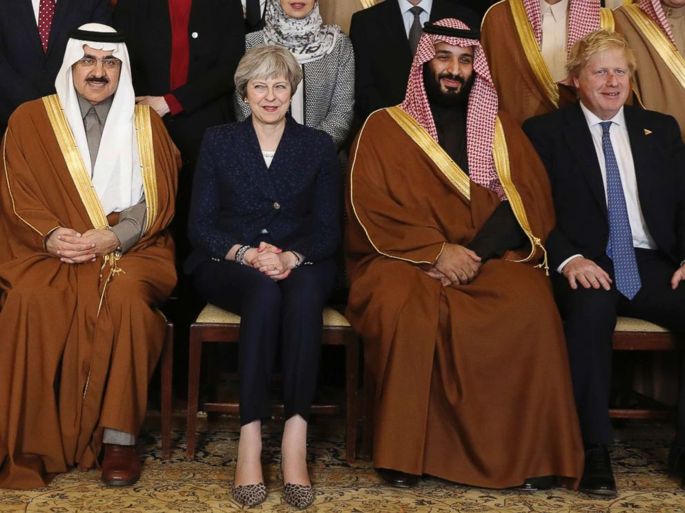 PHOTO: Britains Prime Minister Theresa May, 2nd left, sits with Saudi Crown Prince Mohammed bin Salman, 2nd right, and other members of the British government and Saudi ministers and delegates inside 10 Downing Street in London, March 7, 2018.