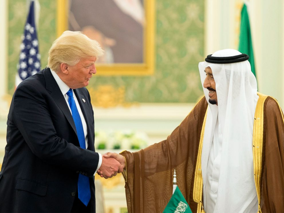 PHOTO: This file handout picture provided by the Saudi Royal Palace on May 20, 2017, shows President Donald Trump and Saudi Arabias King Salman bin Abdulaziz al-Saud shaking hands at the Saudi Royal Court in Riyadh, Saudia Arabia.