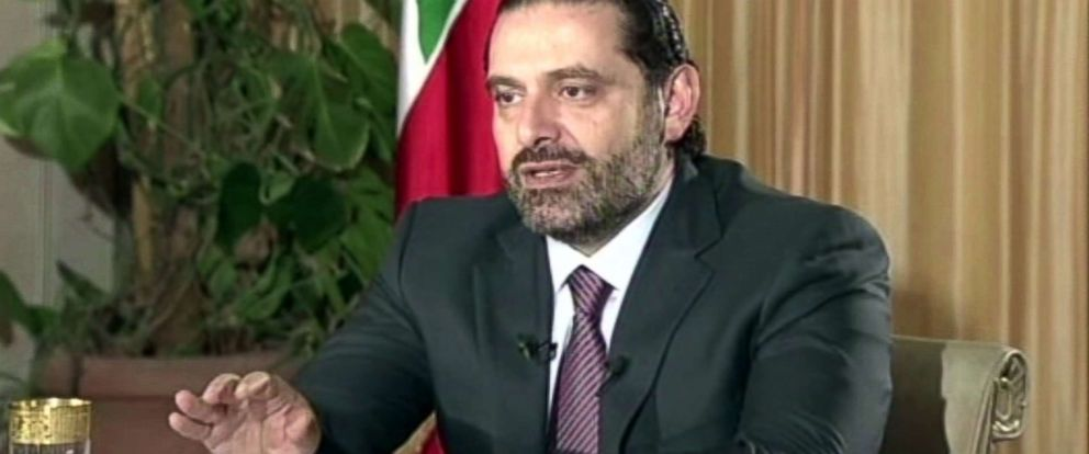 "PHOTO: Lebanons Prime Minister Saad Hariri gives a live TV interview in Riyadh, Saudi Arabia, Nov. 12, 2017, saying he will return to his country ""within days."""