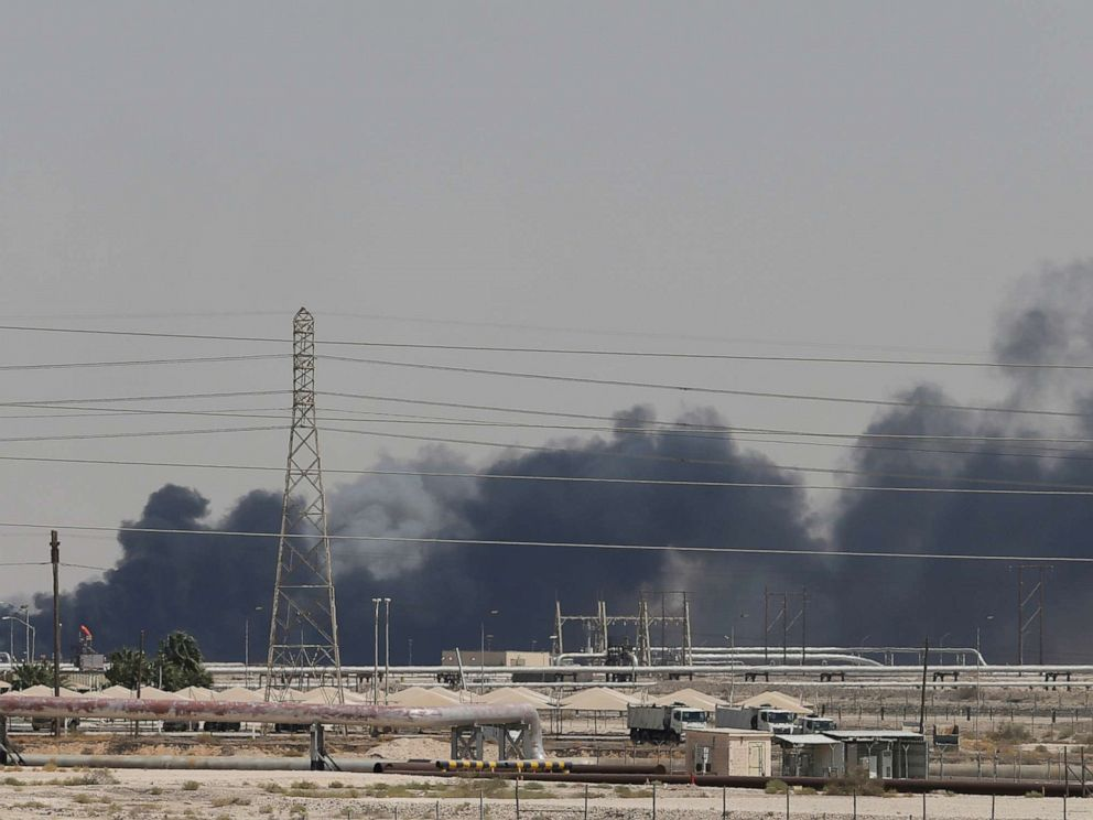 PHOTO: Smoke is seen following a fire at Aramco facility in the eastern city of Abqaiq, Saudi Arabia, Sept. 14, 2019.