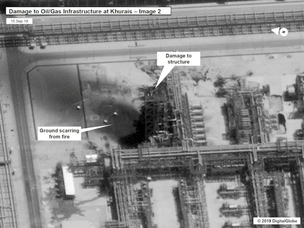 PHOTO: A satellite image showing damage to Saudi Aramco infrastructure at Khurais, in Saudi Arabia in this handout picture released by the U.S Government September 15, 2019.