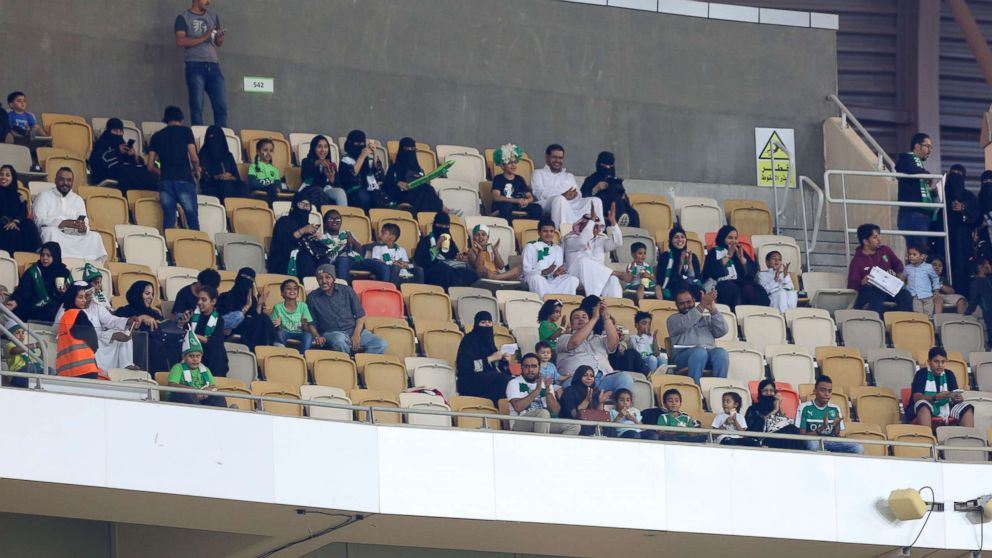 Female Saudi supporters of Al-Ahli attend their teams football match against Al-Batin in the Saudi Pro League at the King Abdullah Sports City in Jeddah, Jan. 12, 2018.
