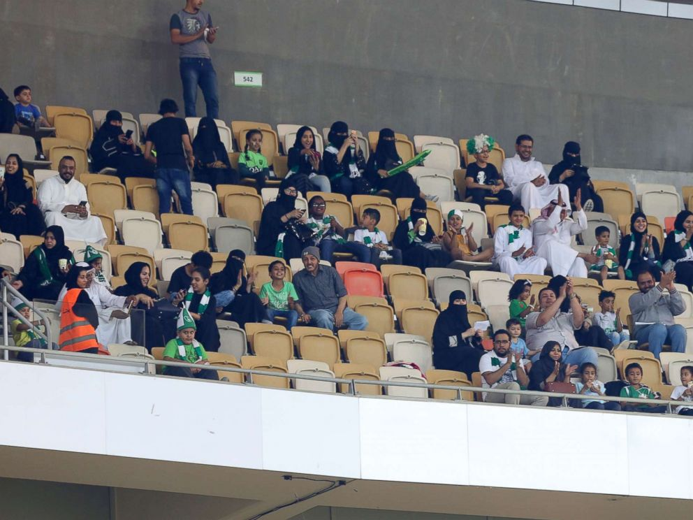 PHOTO: Female Saudi supporters of Al-Ahli attend their teams football match against Al-Batin in the Saudi Pro League at the King Abdullah Sports City in Jeddah, Jan. 12, 2018.