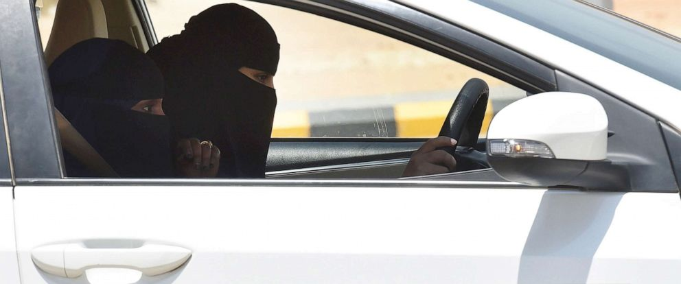 PHOTO: A Saudi trainer gives a driving lesson to a female trainee at the Saudi Driving School (SDS), in Riyadh, Saudi Arabia, on June 24, 2019.