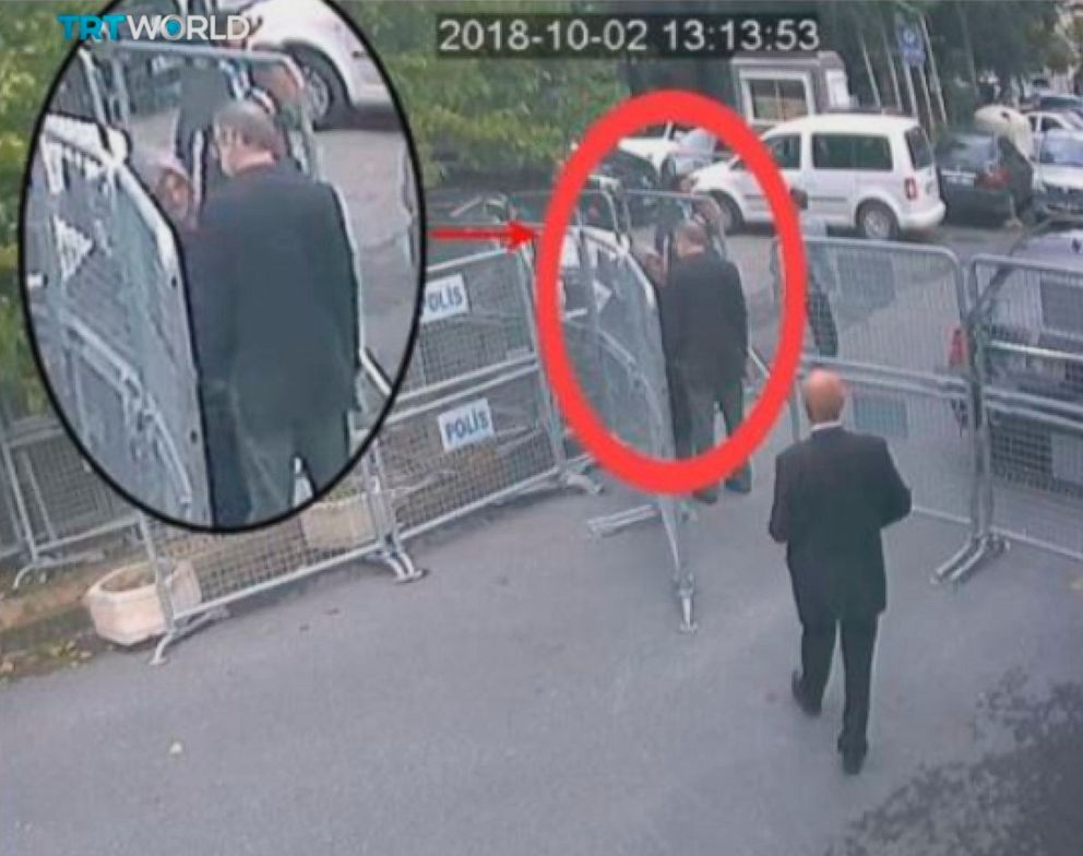 This image taken from CCTV video obtained by the Turkish broadcaster TRT World and made available on Sunday, Oct. 21, 2018, purportedly showing Saudi journalist Jamal Khashoggi talking to his fiancee Hatice Cengiz, seen in expanded view, before entering the Saudi consulate in Istanbul, Oct. 2, 2018.