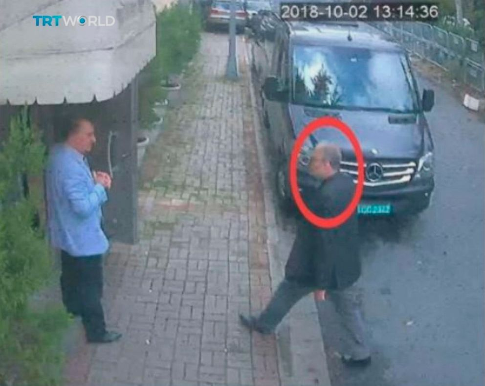 This image taken from CCTV video obtained by the Turkish broadcaster TRT World and made available on Sunday, Oct. 21, 2018, purportedly showing Saudi journalist Jamal Khashoggi entering the Saudi consulate in Istanbul, Oct. 2, 2018.
