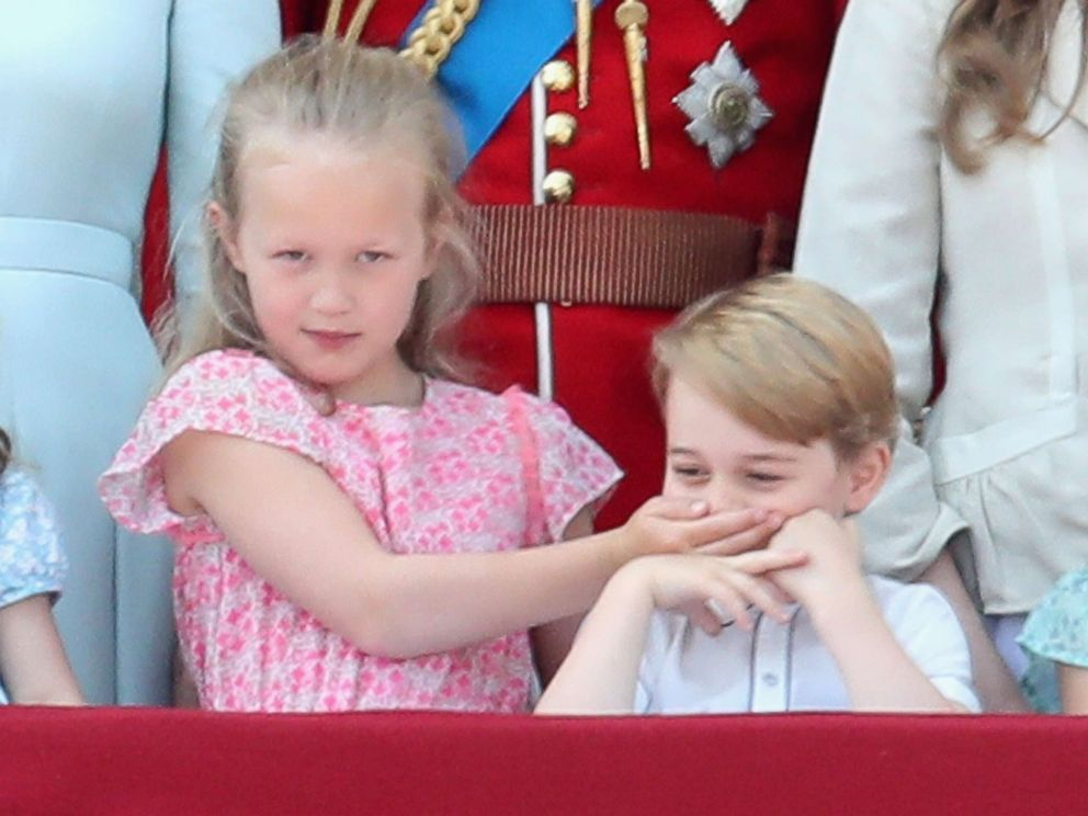 PHOTO: Savannah Phillips and Prince George of Cambridge watch the flypast on the balcony of Buckingham Palace during Trooping The Color on June 9, 2018 in London.
