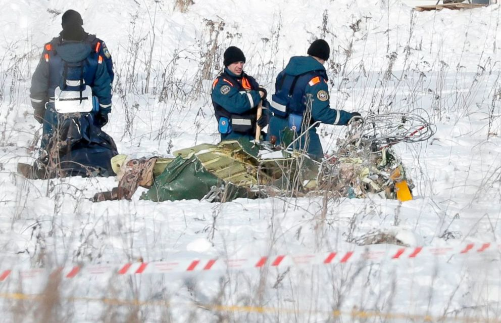 PHOTO: Russian rescuers search human remains and collect plane debris at the site of the crashed Russian Saratov Airlines Antonov AN-148 passenger plane near Argunovo, Ramensky district, Moscow region, Russia, Feb. 11, 2018.
