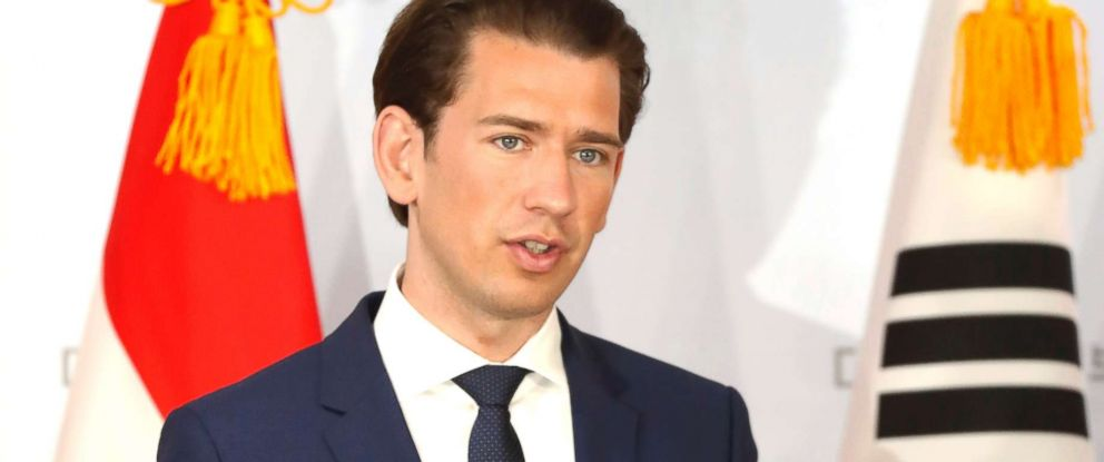 PHOTO: Austrias Chancellor Sebastian Kurz attends a press conference at the Presidential Blue House on Feb. 14, 2019 in Seoul.
