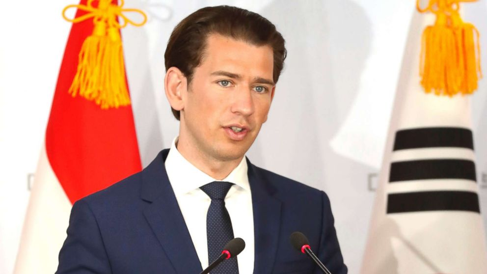 Austria's Chancellor Sebastian Kurz attends a press conference at the Presidential Blue House on Feb. 14, 2019 in Seoul.