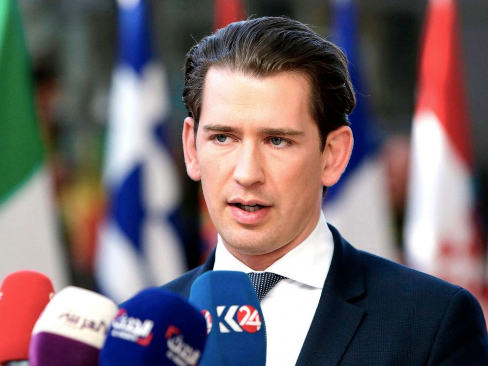 PHOTO: Austrias Chancellor Sebastian Kurz speaks to the press as he arrives ahead of a European Council meeting on Brexit at The European Parliament in Brussels, April 10, 2019.