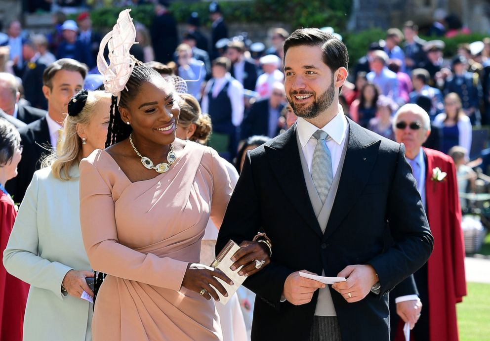 PHOTO: Serena Williams and her husband Alexis Ohanian arrive for the wedding ceremony of Britains Prince Harry, Duke of Sussex and Meghan Markle at St. Georges Chapel, Windsor Castle, on May 19, 2018 in Windsor, England.