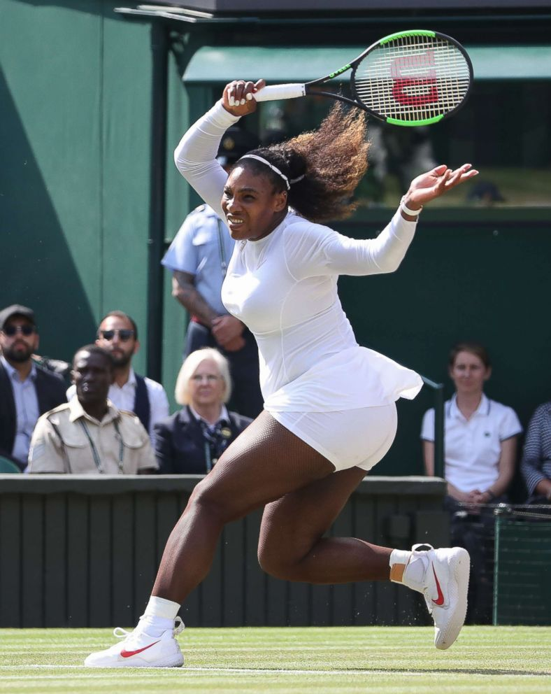 PHOTO: Serena Williams of the United States during day 11 of Wimbledon Lawn Tennis Championships at All England Lawn Tennis and Croquet Club on July 13, 2018 in London.