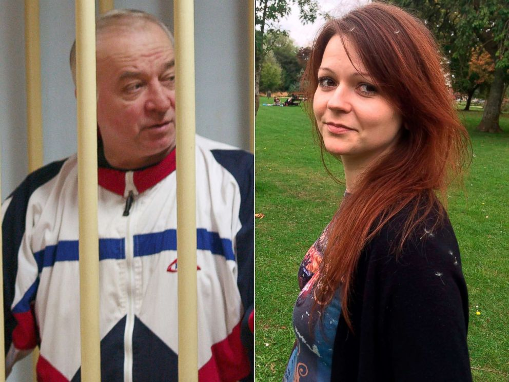 PHOTO: Sergei Skripal, a former colonel of Russias GRU military intelligence service, looks on inside the defendants cage at the Moscow military district court, Aug. 9, 2006.| Sergei Skripals daughter Yulia Skripal is seen in this undated photo.