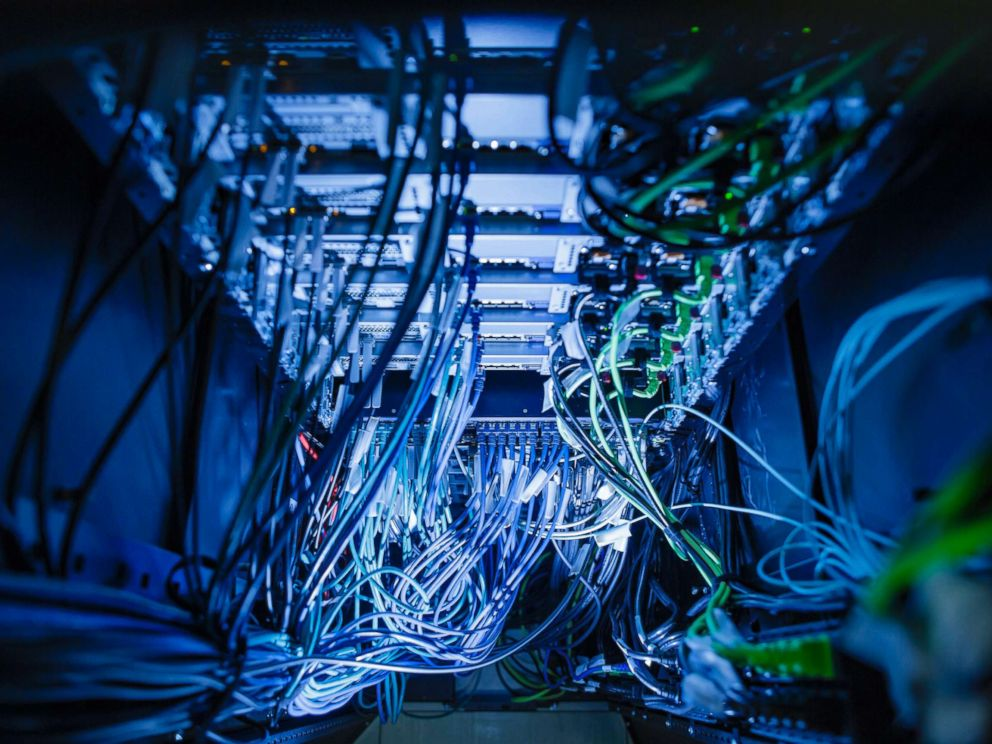 PHOTO: Cables and LED lights in a server center in Berlin, Germany, Jan. 12, 2018.