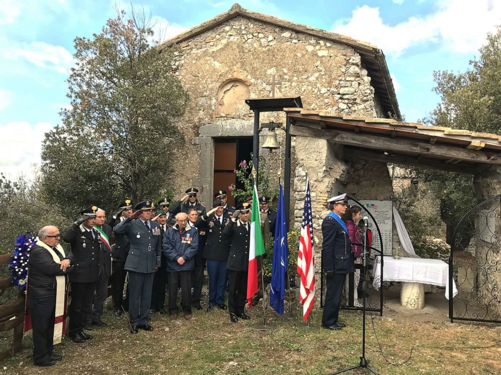 PHOTO: Local dignitaries, international residents and military authorities at the commemorative ceremony at Montebuono, Itlay.