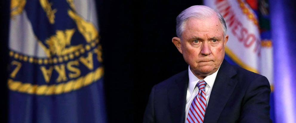 PHOTO: Attorney General Jeff Sessions waits to speak at the Eighth Judicial District Conference, Aug. 17, 2018, in Des Moines, Iowa.