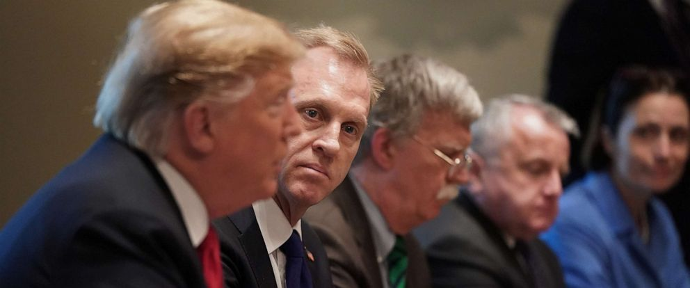 PHOTO: Acting Defense Secretary Patrick Shanahan (2nd L) listens to President Donald Trump during a bilateral meeting with NATO Secretary General Jens Stoltenberg in the Cabinet Room at the White House, April 2, 2019.
