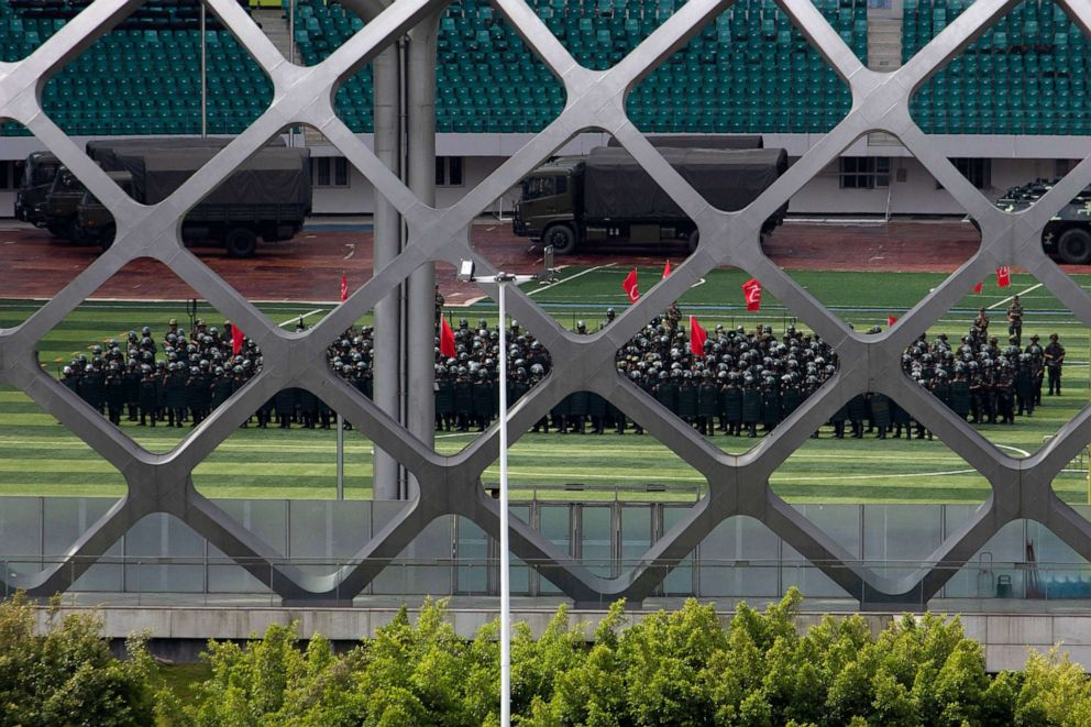 PHOTO: Chinese paramilitary policemen participate in drills at the Shenzhen Bay Stadium in Shenzhen, China, near the border with Hong Kong, Aug. 18, 2019.