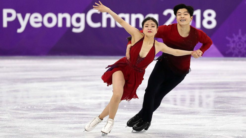 Americans Maia Shibutani and Alex Shibutani perform in the figure skating free dance event during the Pyeongchang 2018 Olympic Winter Games at Gangneung Ice Arena, Pyeongchang, South Korea, Feb. 20, 2018.