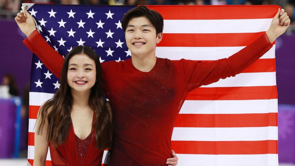 Americans Maia Shibutani and Alex Shibutani celebrate after winning bronze in the ice dance competition of the figure skating competition at the Gangneung Ice Arena during the PyeongChang 2018 Olympic Games, South Korea, Feb. 20, 2018.