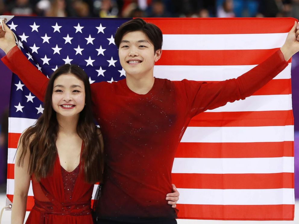 PHOTO: Americans Maia Shibutani and Alex Shibutani celebrate after winning bronze in the ice dance competition of the figure skating competition at the Gangneung Ice Arena during the PyeongChang 2018 Olympic Games, South Korea, Feb. 20, 2018.