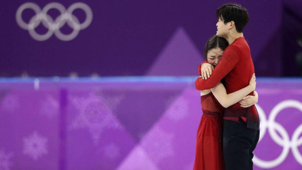 Figure Skaters Maia Shibutani and Alex Shibutani react after their performance at the Pyeongchang 2018 Winter Olympics, Feb. 20, 2018, Gangneung, South Korea.