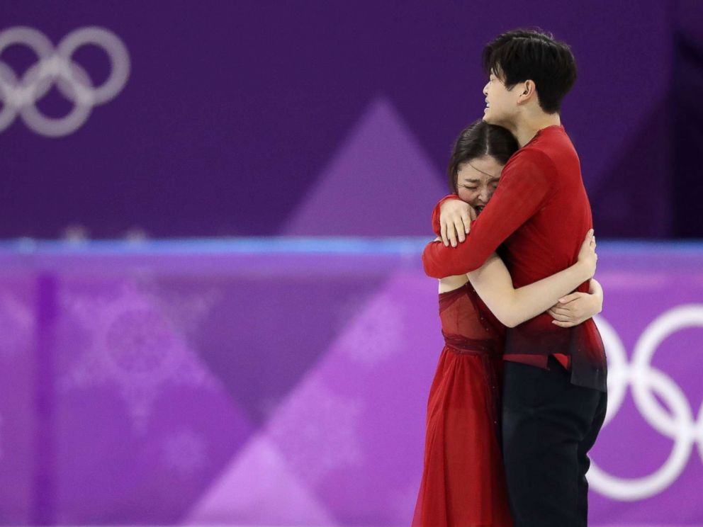 PHOTO: Figure Skaters Maia Shibutani and Alex Shibutani react after their performance at the Pyeongchang 2018 Winter Olympics, Feb. 20, 2018, Gangneung, South Korea.