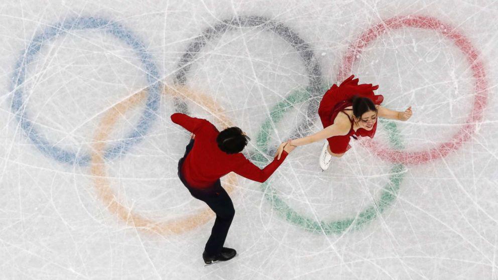 Americans Maia Shibutani and Alex Shibutani perform during the Pyeongchang 2018 Winter Olympics, Feb. 20, 2018, in Gangneung, South Korea.
