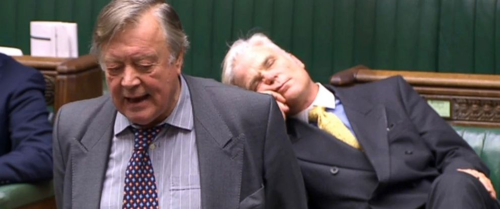 PHOTO: Sir Desmond Swayne MP appearing to sleep as he sits behind former Chancellor Ken Clarke during a House of Commons debate on Brexit, Jan. 16, 2018, in London.