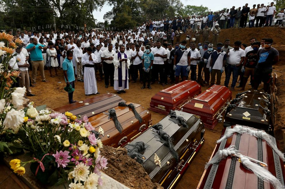 PHOTO: People participate in a mass funeral for seven victims belonging to one family, in Negombo, three days after a string of suicide bomb attacks on churches and luxury hotels across the island on Easter Sunday, in Sri Lanka April 24, 2019.