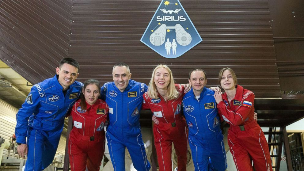 The SIRIUS-19 crew consists of Reinhold Povilaitis, Daria Zhidova, Commander Yevgeny Tarelkin, Anastasia Stepanova, Allen Mirkadryrov and Stephania Fedyai.